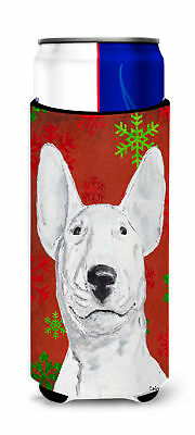 Bull Terrier Red Snowflake Christmas Ultra Beverage Insulators for slim cans