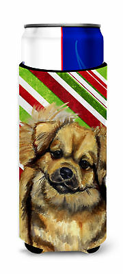 Tibetan Spaniel Candy Cane Holiday Christmas Ultra Beverage Insulators for slim