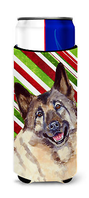 Norwegian Elkhound Candy Cane Holiday Christmas Ultra Beverage Insulators for sl