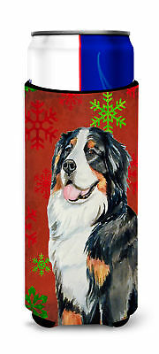 Bernese Mountain Dog Red  Green Snowflakes Holiday Christmas Ultra Beverage Insu