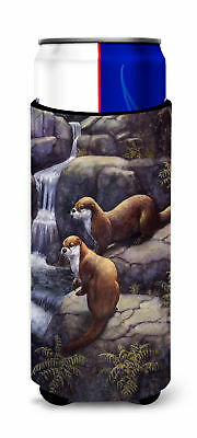Otters by the Waterfall by Daphne Baxter Ultra Beverage Insulators for slim cans