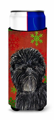 Affenpinscher Red Green Snowflakes Christmas Ultra Beverage Insulators for slim