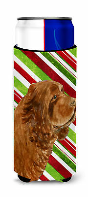 Sussex Spaniel Candy Cane Holiday Christmas Ultra Beverage Insulators for slim c