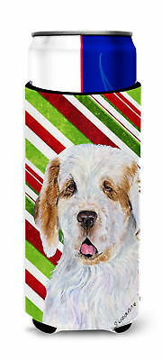 Clumber Spaniel Candy Cane Holiday Christmas Ultra Beverage Insulators for slim
