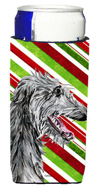 Scottish Deerhound Candy Cane Christmas Ultra Beverage Insulators for slim cans