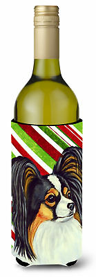 Papillon Candy Cane Holiday Christmas Wine Bottle Beverage Insulator Beverage In