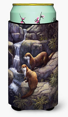 Otters by the Waterfall by Daphne Baxter Tall Boy Beverage Insulator Hugger
