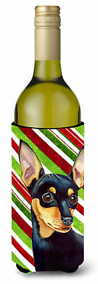 Min Pin Candy Cane Holiday Christmas Wine Bottle Beverage Insulator Beverage Ins