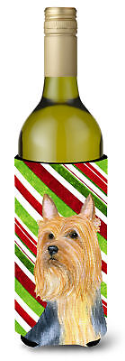 Silky Terrier Candy Cane Holiday Christmas Wine Bottle Beverage Insulator Bevera