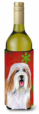 Bearded Collie Snowflakes Holiday Christmas Wine Bottle Beverage Insulator Bever