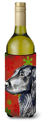Flat Coated Retriever  Snowflakes Holiday Christmas Wine Bottle Beverage Insulat