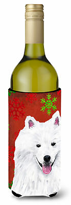 American Eskimo Snowflakes Holiday Christmas Wine Bottle Beverage Insulator Beve