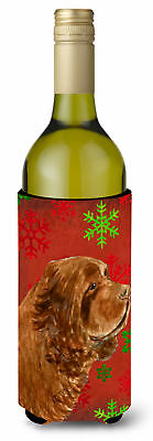 Sussex Spaniel Red Green Snowflake Holiday Christmas Wine Bottle Beverage Insula