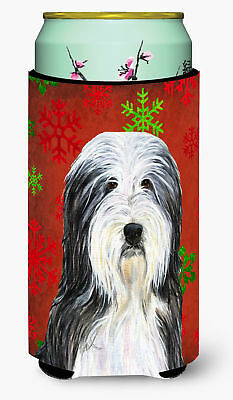 Bearded Collie Red and Green Snowflakes Holiday Christmas  Tall Boy Beverage Ins