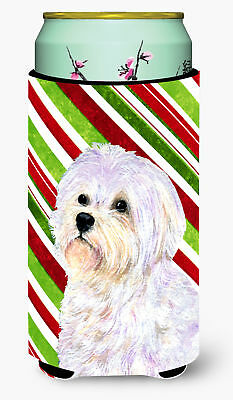 Maltese Candy Cane Holiday Christmas  Tall Boy Beverage Insulator Beverage Insul