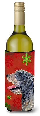 Irish Wolfhound Red and Green Snowflakes Holiday Christmas Wine Bottle Beverage