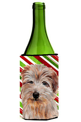 Norfolk Terrier Candy Cane Christmas Wine Bottle Beverage Insulator Hugger