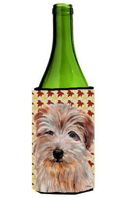 Norfolk Terrier Fall Leaves Wine Bottle Beverage Insulator Hugger
