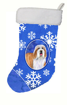 Bearded Collie Winter Snowflakes Snowflakes Holiday Christmas Stocking
