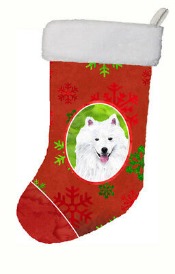 American Eskimo Red and Green Snowflakes Holiday  Christmas Stocking