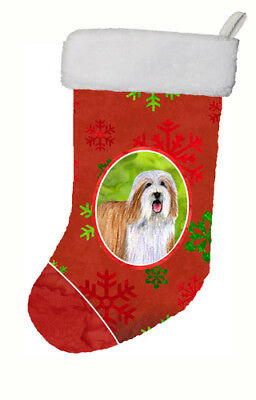 Bearded Collie Red and Green Snowflakes Holiday Christmas Christmas Stocking
