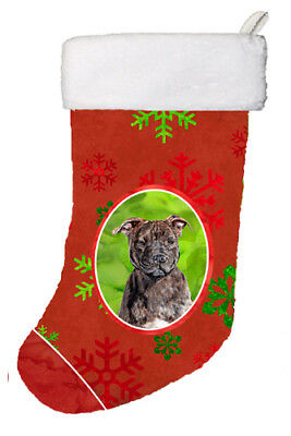 Staffordshire Bull Terrier Staffie Red Snowflakes Holiday Christmas Stocking