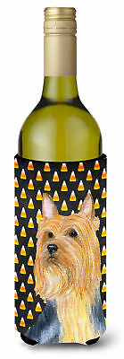 Silky Terrier Candy Corn Halloween Portrait Wine Bottle Beverage Insulator Bever