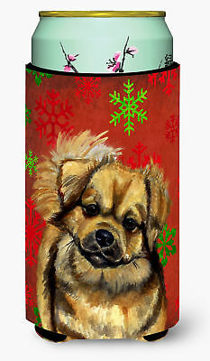 Tibetan Spaniel Red Green Snowflake Holiday Christmas  Tall Boy Beverage Insulat