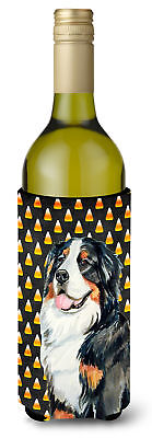 Bernese Mountain Dog Candy Corn Halloween Portrait Wine Bottle Beverage Insulato