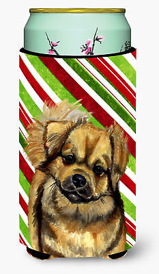 Tibetan Spaniel Candy Cane Holiday Christmas  Tall Boy Beverage Insulator Bevera