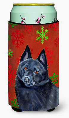 Schipperke Red and Green Snowflakes Holiday Christmas  Tall Boy Beverage Insulat