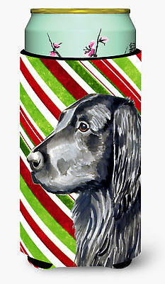 Flat Coated Retriever Candy Cane Holiday Christmas  Tall Boy Beverage Insulator