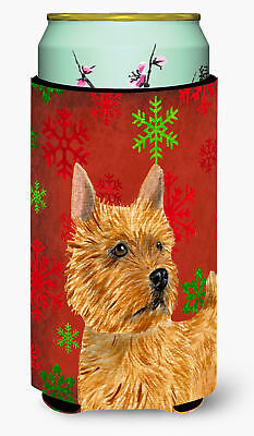 Norwich Terrier Red and Green Snowflakes Holiday Christmas  Tall Boy Beverage In