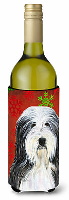 Bearded Collie Red and Green Snowflakes Holiday Christmas Wine Bottle Beverage I
