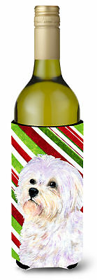 Maltese Candy Cane Holiday Christmas Wine Bottle Beverage Insulator Beverage Ins