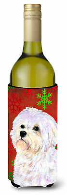 Maltese Red and Green Snowflakes Holiday Christmas Wine Bottle Beverage Insulato