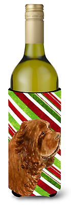 Sussex Spaniel Candy Cane Holiday Christmas Wine Bottle Beverage Insulator Bever