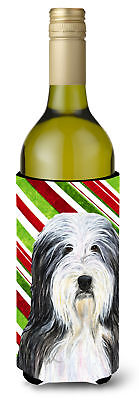 Bearded Collie Candy Cane Holiday Christmas Wine Bottle Beverage Insulator Bever