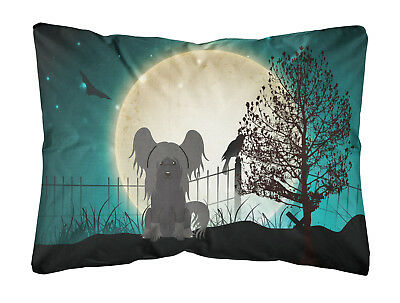 Halloween Scary Chinese Crested Black Canvas Fabric Decorative Pillow
