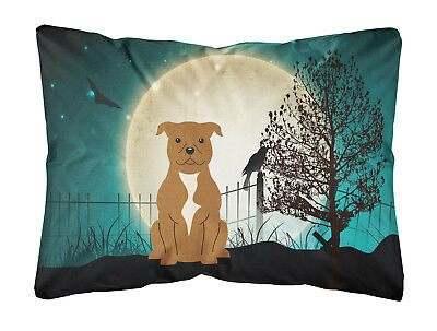 Halloween Scary Staffordshire Bull Terrier Brown Canvas Fabric Decorative Pillow