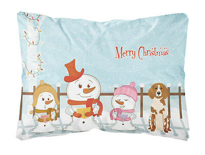 Merry Christmas Carolers Brittany Spaniel Canvas Fabric Decorative Pillow