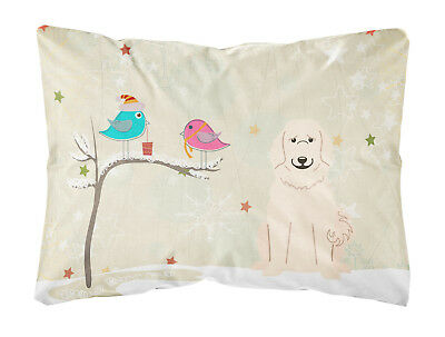 Christmas Presents between Friends Great Pyrenese Canvas Fabric Decorative Pillo