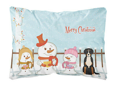 Merry Christmas Carolers Greater Swiss Mountain Dog Canvas Fabric Decorative Pil