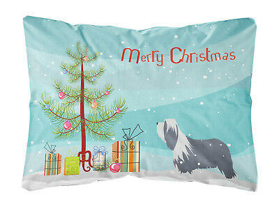 Bearded Collie Dog Merry Christmas Tree Canvas Fabric Decorative Pillow