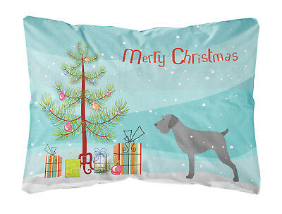 German Wirehaired Pointer Merry Christmas Tree Canvas Fabric Decorative Pillow