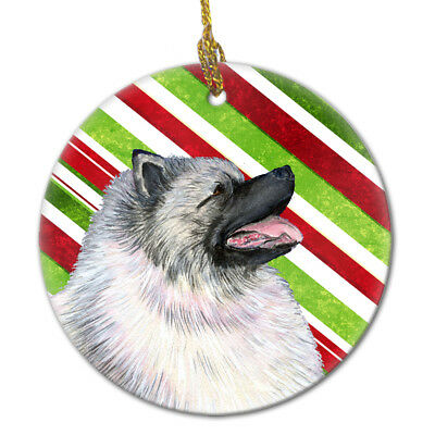 Keeshond Candy Cane Holiday Christmas Ceramic Ornament SS4557