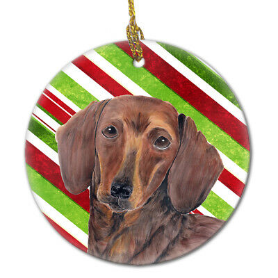 Dachshund Candy Cane Holiday Christmas  Ceramic Ornament SC9328