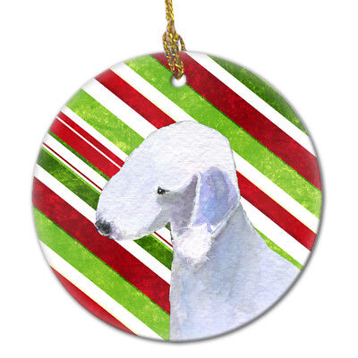 Bedlington Terrier Candy Cane Holiday Christmas Ceramic Ornament SS4552