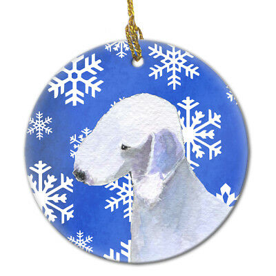 Bedlington Terrier Winter Snowflakes Holiday Christmas Ceramic Ornament SS4621