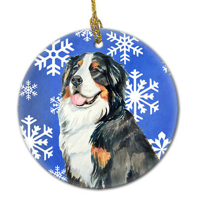Bernese Mountain Dog Winter Snowflake Holiday Ceramic Ornament LH9289